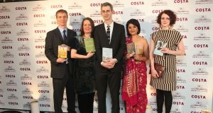 Maggie O'Farrell (far right) with fellow winners Jason Wallace, Jo Shapcott, Edmund de Waal, and Kishwar Desai at the Costa Book Awards in 2011. Photograph:  Tim Whitby/Getty Images