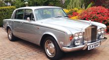 The 1976 silver-grey Silver Shadow Rolls Royce which is for for sale