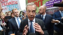 Ukip leader Nigel Farage at the launch of a new Leave poster campaign in London on Thursday. Photograph: Facundo Arrizabalaga/EPA
