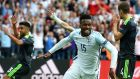 Daniel Sturridge celebrates after scoring the late late winner for England against Wales at Stade Bollaert-Delelis inLens yesterday. Photograph: Andy Rain/EPA