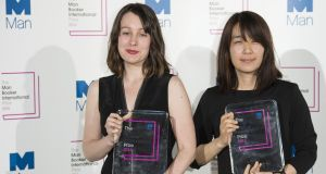 Deborah Smith (left), translator of the winning book, The Vegetarian, with author Han Kang at the Man Booker International Prize in London. Photograph: Jeff Spicer/Getty Images