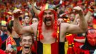 Belgium fans before the Italy game on Monday. Photograph: Kai Pfaffenbach/Reuters