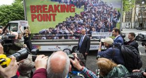 English nationalism: Nigel Farage of Ukip unveils a referendum poster. Photograph: Jack Taylor/Getty