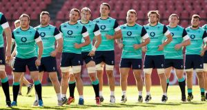 The Ireland squad train at Ellis Park, Johannesburg, on Friday. Photo: Billy Stickland/Inpho