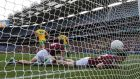 d Johnny Duane fail to prevent a Donegal goal during the counties' qualifier clash in Croke Park last summer.  photograph: Cathal Noonan/Inpho