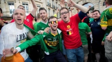 Ireland's green army and Belgium's red devils having a ball in Bordeaux