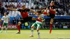 Shane Long had a tough afternoon against Belgium's Thomas Vermaelen and Toby Alderweireld. Photograph: Reuters