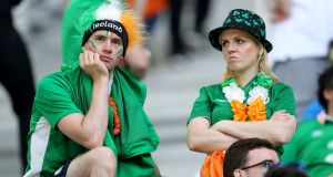 Republic of Ireland fans appear dejected after the UEFA Euro 2016, Group E match at the Stade de Bordeaux, Bordeaux. Photograph: PA