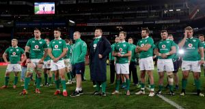 Ireland's dejected  players at the end of the second Test against South Africa at    Emirates Airline Park in Johannesburg. Photograph: Billy Stickland/Inpho