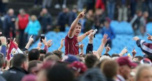 Galway's Shane Walsh celebrates at the final whistle. Photo: Lorraine O'Sullivan/Inpho