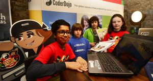 Dhruv Bhamidipati (left), Jasper Brezina-Conneffe, Harvey Brezina-Conniffe and Grainne Meghan, pictured at the launch of the fifth CoderDojo awards in March. Photograph: Cyril Byrne