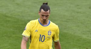 Marc Wilmots remains wary of the threat posed by Sweden's talisman Zlatan Ibrahimovc. Photograph: Afp