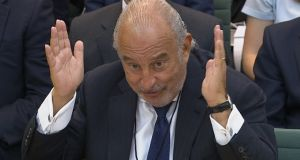 Philip Green before the British parliament's business select committee on the collapse of British Home Stores which he used own. Photograph: Reuters
