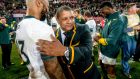 Lionel Mapoe and Springboks coach Allister Coetzee after South Africa's second Test victory over Ireland. Photograph: Getty
