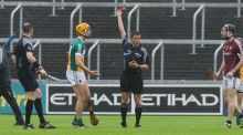 Offaly's Colin Egan is shown a red card in the first half. Photograph: Tom Beary/Inpho