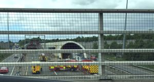 The Port Tunnel was closed on Monday morning following a truck fire at the M1/N1 southbound entrance. Photograph: Dublin Fire Brigade