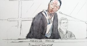 Court sketch shows Fabienne Kabou (39) speaking during the first day of her trial at the Assize Court, in Saint-Omer. Photograph: Benoit Peyrucq/AFP/Getty Images