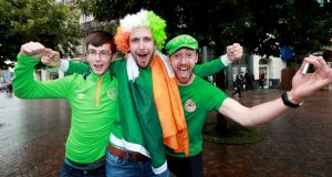 Robert O'Connor, Brian Sherrock and Gary Sherrock from Meath ahead of the match in Lille. Photograph:  James Crombie/Inpho