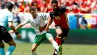 Wes Hoolahan battles with Belgium's Mousa Dembele on a day when the Norwich playmaker's influence was below its normal standard. Photograph: Rungroj Yongrit/EPA