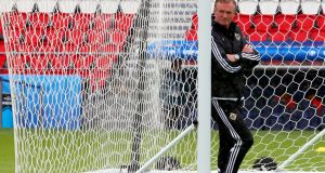 Northern Ireland manager Michael O'Neill during a training session at   Parc des Princes in Paris ahed of the game against Germany. Photograph: Srdjan Suki/EPA