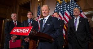 Democratic Senator from Florida Bill Nelson (C) speaks to the media after a series of procedural votes on gun legislation in the US Capitol in Washington, DC, USA, 20th June 2016. The four amendments (two from Republicans and two from Democrats) all of which failed, were proposed in the wake of the Orlando Pulse Nightclub shooting, during which a total of 50 people, including the suspect gunman, were killed and 53 were injured in a mass shooting attack at an LGBT club in Orlando, Florida, in the early hours of 12th June. The shooter was killed in an exchange of fire with the police after taking hostages at the club. Photograph: Jim Lo Scalzo/EPA
