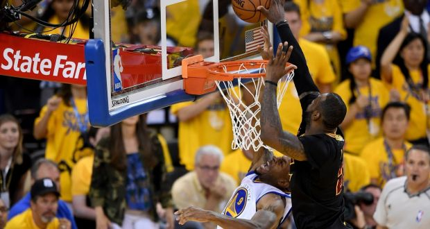 3f2030e3143 LeBron James of the Cleveland Cavaliers blocks a shot late on in Game 7 of  the