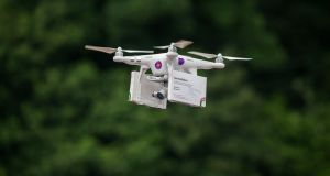Pro-choice activists deliver abortion pills to women in Northern Ireland from the Irish Republic using a drone, at Narrow Water Castle near Warrenpoint in County Down. Photograph: PA