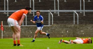 Jamie Farrell of Laois celebrates scoring a point against Armagh. Photo: Tom Beary/Inpho