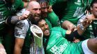 Aly Muldowney and Bundee Aki celebrate with John Muldoon after Connacht's Pro12 win over Leinster. Connacht's success was built on Pat Lam striking the correct balance between homegrown talent and players recruited from elsewhere.