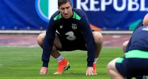 Republic of Ireland defender Stephen Ward training in Lille. Photograph: Donall Farmer/Inpho