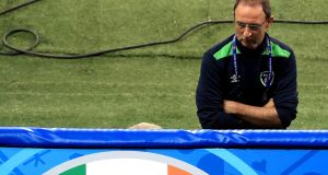 Ireland manager Martin O'Neill gathers his thoughts during the stadium walk in Lille. Photograph: Donall Farmer/Inpho