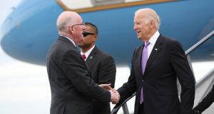 Joe Biden pic as he is welcomed by Minister for Foreign Affairs Charlie Flanagan Photograph: Maxwells Dublin.