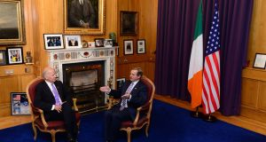 US vice president Joe Biden meetingTaoiseach Enda Kenny TD at Government Buildings, Dublin, at the start of his visit to Ireland. Photograph: Dara Mac Dónaill / The Irish Times