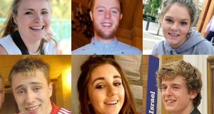 The students who were killed when the balcony collapsed at the Library Gardens Apartments, in Berkeley, California (Top LtoR) Ashley Donohoe, Eoghan Culligan, Olivia Burke, (Bottom LtoR) Nick Schuster, Eimear Walsh, and Lorcan Miller.