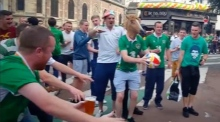 Ireland fans horse around before facing Italy