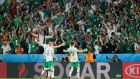 Robbie Brady celebrates with Ireland supporters after his goal secured a famous 1-0 win over Italy in Lille. Photograph: Reuters