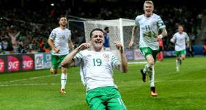 Man of the moment: Robbie Brady celebrates scoring the decider against Italy. Photograph: Donall Farmer/Inpho