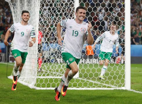 Robbie Brady celebrates after scoring against Italy in the Euro 2016 group game at Stade Pierre in Lille, France. Photograph: REUTERS/Carl RecineLivepic
