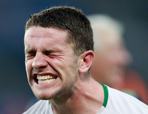 Sheer delight: Robbie Brady after the game. Photograph: INPHO/James Crombie