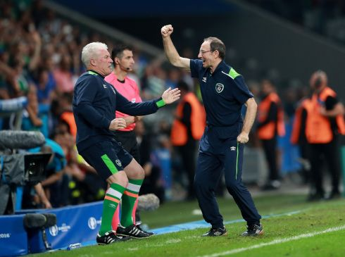 Manager Martin O'Neill celebrates with goalkeeping coach Seamus McDonagh. Photograph: INPHO/James Crombie