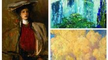 Furze finds: Portrait de femme au chapeau [Portrait of a woman wearing a hat], by Sir John Lavery; The Fern in the Area, by Jack B Yeats; and Landscape with Cottage, by Paul Henry.