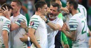 'Admittedly, Roy Keane struggled with the new touchy-feeliness of it all when he took Robbie Brady in what might only be described as a chokehold after the final whistle, but someone had taken a finger out of the repressed dyke and the tears were flowing.'   Photograph:  John Walton/PA