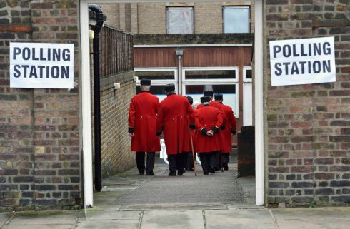 BREXIT: Chelsea Pensioners arrive to vote in the EU referendum, at a polling station in Chelsea, London. Photograph: Toby Melville/Reuters