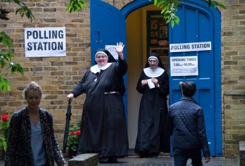 IN OR OUT? Nuns leave a polling station after voting in the EU referendum in London. Photograph: Hannah McKay/EPA