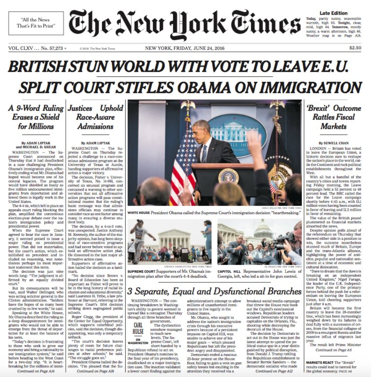 Brexit: UK and World front pages