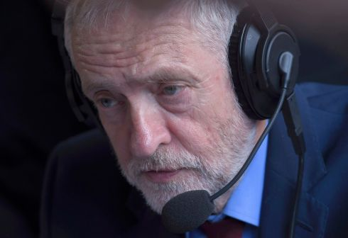 Britain's opposition Labour party leader, Jeremy Corbyn, speaks during a media interview on Abingdon Green, oppostie the Houses of Parliament, in central London, Britain June 24, 2016.     Photograph: Toby Melville
