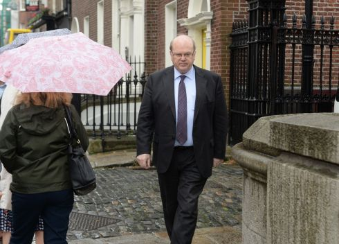 Michael Noonan, Minister for Finance arriving at the Department of Finance this morning. Photograph: Cyril Byrne / The Irish Times