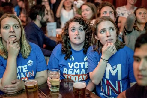 A referendum results party at the Lexington pub in London, June 23, 2016. A record number of registered voters were expected to decide whether Britain will leave the European Union.  Photograph: Andrew Testa/The New York Times