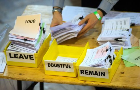 Votes are sorted into Remain, Leave and Doubtful trays as ballots are counted during the EU Referendum count for Westminster and the City of London at the Lindley Hall, Royal Horticultural Halls, London. Photograph: Anthony Devlin/PA Wire