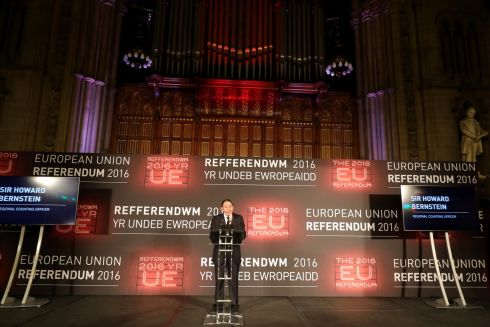 Chief Executive of Manchester City Council Sir Howard Bernstein announces the northwest results as the LEAVE campaign is the forecasted winner of the EU referendum at Manchester Town Hall on June 24, 2016 in Manchester, England. The results from the historic EU referendum are awaiting a final declaration and the United Kingdom is projected to have voted to LEAVE the European Union.  Photograph:Christopher Furlong/Getty Images
